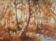 Sale 8492 - Lot 554 - Hugh Sawrey (1919 - 1999) - Plant Horses Along the Thompson, W. Qld 29.5 x 39.5cm
