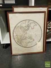 Sale 8544 - Lot 2056 - Pair of Framed Vintage Prints of French & English Maps