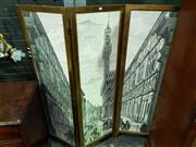 Sale 8653 - Lot 1089 - Italian Piero Fornasetti Style Three Panel Screen, with a view of Florence, in the style of an 18th century engraving & in a gilt wo...