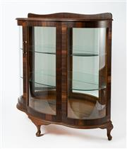 Sale 8651A - Lot 100 - A bow fronted, Art Deco display cabinet on cabriole legs, featuring original glass, shelves and bakelite handle, H 114 x W 110 x D 42cm