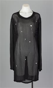 Sale 8661F - Lot 78 - An Ann Demeulemeester sheer rayon printed shift dress, size 42
