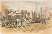 Sale 8781 - Lot 525 - John Cornwell (1930 - ) - Down by the Docks 58.5 x 88.5cm