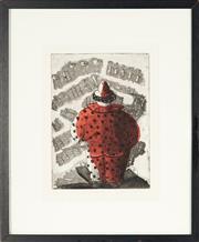 Sale 8807 - Lot 2028 - Leonie ADeane - Musically Red I 30 x 22cm