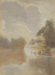 Sale 8867A - Lot 5020 - John Eldershaw (1892-1973) - Morning, Lake Macquarie 32 x 24cm