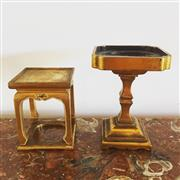 Sale 8878T - Lot 26 - Chinese Gilt and Lacquer Timber Stands Heights - 10.5cm & 8cm