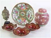 Sale 8926A - Lot 627 - Collection of Chinese item inc. ginger jar (H16cm), famile verte dish (AF, Dia20cm), Buddha head (H16cm) and 3 lacquered holders