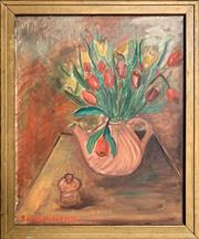 Sale 9024 - Lot 2084 - A Naive Style Still Life by Unknown Artist, 78 x 65cm (frame) signed and dated lower left