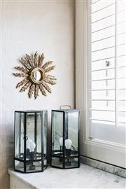 Sale 9087H - Lot 31 - Two simple clean line wall lanterns, in solid brass with bronze finish and clear glass panels with mirrored back panel. Electrified...