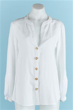 Sale 9091F - Lot 98 - A ELKA COLLECTIVE OF MELBOURNE WHITE LINEN BUTTON DOWN TOP, size S