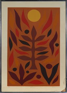 Sale 9116 - Lot 517 - John Coburn (1925 - 2006) Autumn, 1980 screenprint, ed. 63/70 (A.F) 80 x 53.5 cm (frame: 94 x 69 x 2 cm) signed and dated lower right