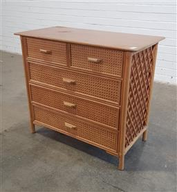 Sale 9154 - Lot 1051A - Cane chest of 5 drawers (h80 x w90 x d45cm)