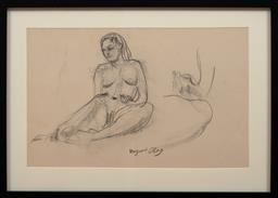 Sale 9150J - Lot 95 - MARGARET OLLEY (1923 - 2011) Nude Study charcoal 31 x 49 cm signed lower centre