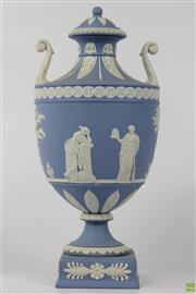Sale 8604W - Lot 33 - Wedgwood Pale Blue Jasperware Twin Handled Urn (H:28cm)