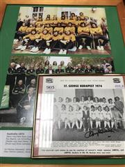 Sale 8863S - Lot 58 - Signed Johnny Warren. A rare Ampol 1974 St George team shot, signed by Warren, t/w a framed photo of the 1974 Socceroos, which inclu...