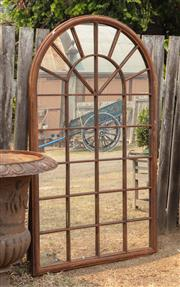 Sale 8871H - Lot 50 - A large arch form metal framed rustic mirror, height 180 x 104cm