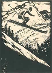 Sale 8896A - Lot 5009 - Lewis Roy Davies (1897 - 1979) - Untitled (The Skier) 10 x 7.5 cm