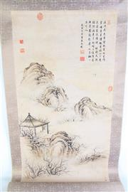 Sale 8977 - Lot 66 - A Hut among Mountain Chinese Scroll L:147cm