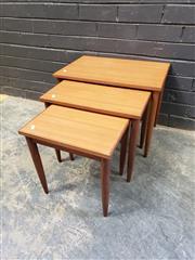 Sale 9039 - Lot 1040 - Nest of 3 Vintage Tables (h:42 x w:55 x d:37cm)