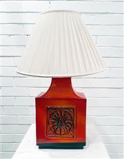 Sale 9092 - Lot 1062 - Vintage orange glaze table lamp (h:46cm)