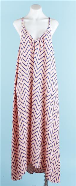 Sale 9091F - Lot 19 - A PINK STITCH STRAP FLOOR LENGTH SUMMER DRESS; size AUS 14