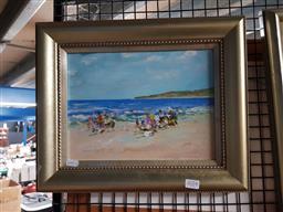 Sale 9127 - Lot 2054 - Donald Frazer, Beach Scene, Oil, SLL 22x29.5cm frame 34x41
