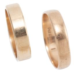 Sale 9213 - Lot 301 - TWO 9CT GOLD BANDS; 4.5mm wide size M, other 4.3mm wide (slightly out of shape), size P1/2, wt. 5.61g.