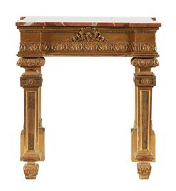 Sale 9245J - Lot 49 - A French 19th century gilt wood console table, with carved floral decoration and a marble top, H 82cm x W 74cm. D 41.5cm