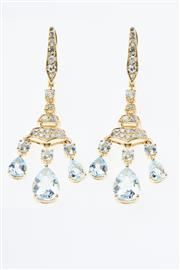 Sale 8299J - Lot 340 - A PAIR OF AQUAMARINE AND DIAMOND CHANDELIER EARRINGS; each a bale and tiered drop set with 24 single cut diamonds and a round cut aq...