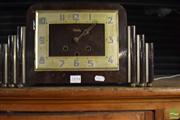 Sale 8306 - Lot 66 - Art Deco Timber Cased Mantle Clock