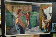 Sale 8522 - Lot 2042 - Canvas Artwork Street Scene, signed J. Needham, unframed