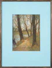 Sale 8892 - Lot 572 - Attributed to Mabel (May) Grigg (1885 - 1969) - Looking Through Trees 31 x 23 cm