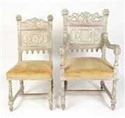 Sale 8599A - Lot 63 - A set of eight antique French limed oak chairs c. 1880. The set comprises two elbow chairs and six others with carved panel backs an...