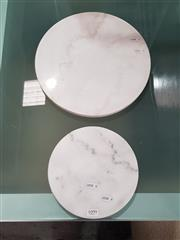 Sale 8777 - Lot 1099 - Two White Round Marble Cheese Boards (30cm & 20cm)