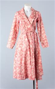 Sale 8800F - Lot 98 - A cotton/linen blend wrap dress printed with fans and chrysanthemums, designed by High Tea with Mrs Woo, size xs