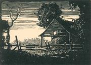 Sale 8896A - Lot 5010 - Lewis Roy Davies (1897 - 1979) - Sliprails and Barn, 1922 7 x 9.5 cm