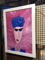 Sale 8891 - Lot 2052 - Murray Drew - Blue mixed media on board, 66.5 x 48cm (frame) signed -