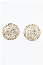 Sale 8402J - Lot 318 - A PAIR OF 18CT GOLD DIAMOND CLUSTER STUD EARRINGS; each a cluster of 7 round brilliant cut diamonds to double surround of tapered ba...
