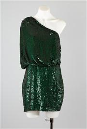Sale 8685F - Lot 17 - A haute hippie assymetrical emerald green sequined cocktail dress, size S