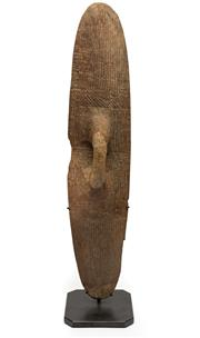 Sale 8770 - Lot 60 - An early carved hardwood wunda shield, West Australian probably 19th Century on iron stand, total height 89cm