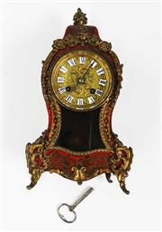 Sale 8770A - Lot 17 - Antique French Boulle & Red Shell Brass Inlaid Mantel striking Clock by S. Marti c 1860s in working order but not serviced Strikes...