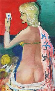 Sale 9055A - Lot 5052 - Harald Vike (1906 - 1987) - Nude With Robe 80 x 47 cm (frame: 90 x 57 x 3 cm)