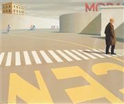 Sale 9009A - Lot 5046 - Jeffrey Smart (1921 - 2013) - The Bicycle Race 51 x 61 cm (frame: 83 x 98 x 3 cm)