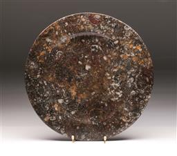 Sale 9107 - Lot 73 - A Composite Platter Featuring Fossils (Dia 36cm)