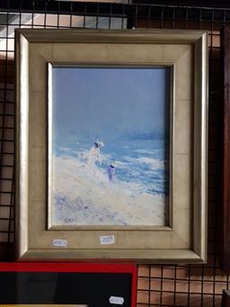 Sale 9127 - Lot 2055 - Artist Unknown, Beach Play, Oil, ILL, 28.5x21.5cm Frame 43x35.5cm