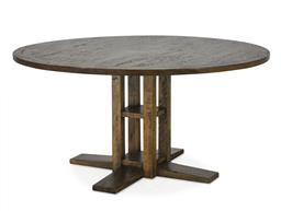 Sale 9250T - Lot 46 - A solid fruitwood round pedestal base table on Art Deco style base with clover inlay. Height 77cm x Width 152cm x Depth 152cm