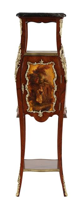 Sale 9245J - Lot 16 - A rare French 19th century three tier, single door kingwood pedestal, with hand painted Verni Martin panels, ormolu mounts and fitte...