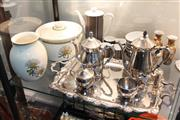 Sale 8346 - Lot 89 - Aria Australia Ceramic Kitchen Tureen & Vase with Other Vintage Wares incl. 5-Piece Silver Plated Tea Set