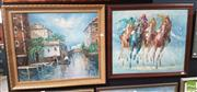 Sale 8563T - Lot 2077 - (2 works) Decorative Oil Paintings by Unknown Artists Horse Race ;Venetian Scene, each 48 x 68cm (frame).