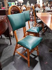 Sale 8676 - Lot 1026 - Set of Six Cane Dining Chairs with Green Upholstered Back & Seat