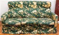 Sale 8735 - Lot 23 - A three seater sofa with bird of paradise amidst magnolia fabric, H x 81cm, W x 165cm, D x 89cm